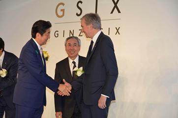 Bernard Arnault et Shinzo Abe à l'inauguration du Ginza Six
