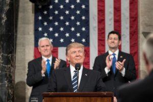 Donald Trump, lors d'un discours devant le Congrès en février 2018